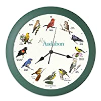 "Audubon Singing Bird Clock - 13"" Green"