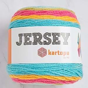 Kartopu 运动衫多色 7.1 盎司(200 克)/394 码 (360 米),柔软,中度磨损羊毛纱,20% 土耳其羊毛 Multicolored - H1630 1包 KartopuJersey