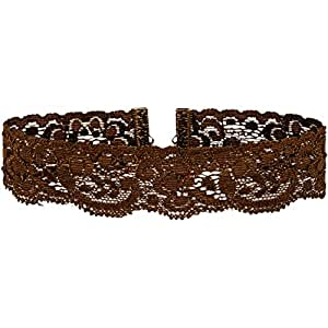 Twilight's Fancy Floral Elastic Stretch Lace Choker Necklace (Small, Brown)