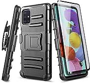 E-Began 三星 Galaxy A71(4G,2020 版本)手机壳,带钢化玻璃屏幕保护膜(全覆盖),皮带夹皮套,带支架,重型装甲防护,防震坚固的手机壳 - 黑色