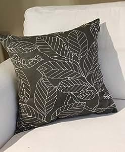 "TangDepot 装饰性手工花卉叶抱枕套/枕套,10 种尺寸可选 Gray Leaf 28"" x 28"" TPCover-Floral02-28x28GrayLeaf"