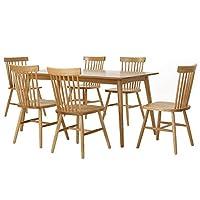 百伽 现代简约全实木餐桌椅组合进口白橡木餐厅家用一桌六椅 1.6米直角腿餐桌+6把温莎椅【亚马逊自营,供应商配送】