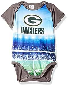NFL Green Bay Packers 男女宝宝通用短袖连体衣,灰色,3-6 个月