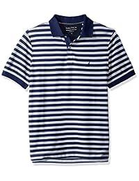 Nautica 诺帝卡男式经典短袖条纹 Polo 衫