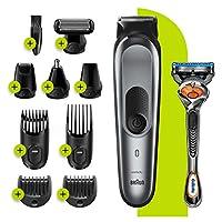 Braun 博朗 10 合 1 多功能修剪器 7 MGK7221,男士胡須修剪器 8 個配件,充電支架和自動感應技術,深灰色