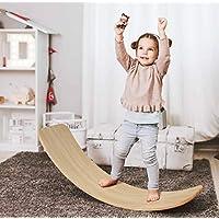 AOLIGE 木制 Wobbel 平衡板 Waldorf 瑜伽曲线板 带防滑毡层 适合幼儿 儿童 成人 33.5 英寸