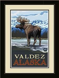 Northwest Art Mall PAL-0445 LFGDM MIS Valdez Alaska 驼鹿流装裱墙艺术艺术作者 Paul A. Lanquist,50.8 x 66.04 cm