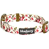 Blueberry Pet 11 Patterns Spring Floral Prints Adjustable Dog Collar & 8 Patterns Personalized Collars, Matching Leash & Harness Available Separately Collar - Ivory Regular Collar - Small