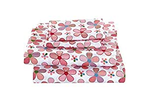 Elegant Home 多色粉白色绿色蓝色花朵设计 4 件套印花双人床尺寸床单套装带枕套床单适合女孩/儿童/青少年 # 粉色花朵 Twin Size unknown