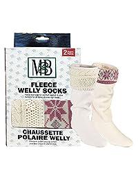 Moneysworth and Best Fleece Welly Socks - Cream Knit/Pink Motif - Pack of 2 - Size Medium