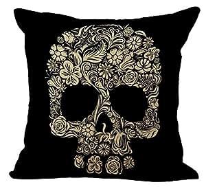 ChezMax 印度骷髅印花靠垫套棉亚麻抱枕套枕套枕套枕套枕套枕套方形拉链图案家庭沙发椅 Empty Eyes Skull in Black WITHOUT FILLER IN-CM-MY-C1019-003