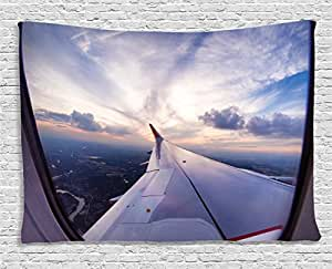 Ambesonne Airplane Decor Collection, Airplane Travel Time Is Sunset Business Distant Evening Float Holiday Horizon Journey Window, Bedroom Living Room Dorm Wall Hanging Tapestry, 80W X 60L Inch