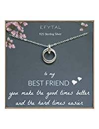 EFYTAL *好的朋友礼物,标准纯银镶嵌戒指互锁无限圆圈项链,友谊项链,珠宝礼物 BFF