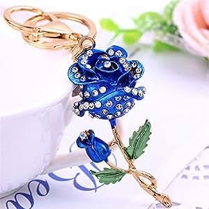 玫瑰 钥匙扣 闪耀花 钥匙圈 水晶 莱茵石 钱包 吊坠 手提包 挂坠 蓝色
