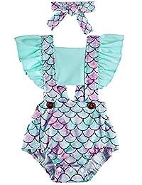 Kids4ever 2 件套女婴连衫裤头带向日葵美人鱼荷叶边连体衣服装 0-24 个月