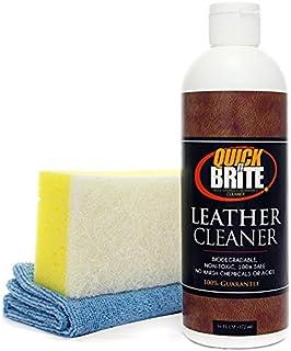 Quick N Brite 51005 皮革清洁剂,带海绵和超细纤维 - 16 液体盎司,清洁汽车座椅、沙发、椅子、船座、乙烯基、网球、高尔夫鞋、靴子;皮革,