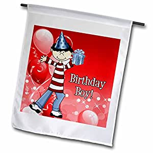 Doreen Erhardt Birthday Collection - Happy Birthday Boy with Red Balloons - Flags 红色 12 x 18 inch Garden Flag
