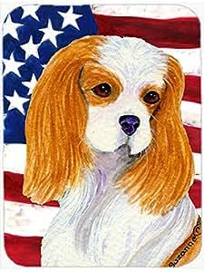 Caroline's Treasures SS4012LCB USA American Flag with Cavalier Spaniel Glass Cutting Board, Large, Multicolor