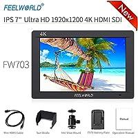 Feelworld FW703 摄像机显示器 7 英寸 4K HDMI SDI 超高清 1920x1200 现场视频 LCD IPS 显示屏 1200:1 高对比度,适用于常量相机、数码单反相机、摄像机套件、手持稳定器