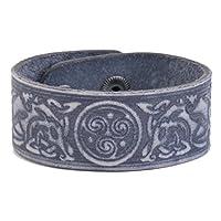 古 celtic 符号三重螺旋 OF LIFE 皮革手镯 pagan 首饰  蓝色