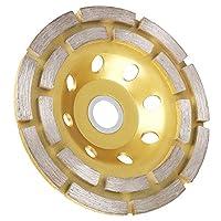 EEEKit 4-1/2 英寸双排钻石杯研磨轮适用于混凝土、花岗岩、石头、大理石等 金色 H9A717D-E001349024FBA
