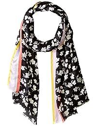 Calvin Klein 女式碎花丝围巾,黑色,均码