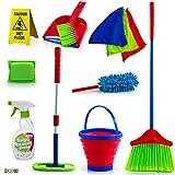 Play22 儿童清洁套装 12 件套 - 玩具清洁套装包括扫帚、拖把、刷子、灰尘平底、灰尘、海绵、衣物、喷雾、桶、注意力标志、- 玩具厨房幼童清洁套装 - 原创
