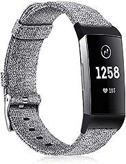 Fintie Fitbit Charge 3 编织腕带,柔软尼龙面料可调运动腕带替换带,适用于 Fitbit Charge 3 / Charge 3 SE 健身活动追踪器女士男士 灰色