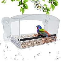Clear Views 窗口鸟类喂食器,带排水孔的大型野生鸟类喂食器,可拆卸托盘,*吸盘,透明视角,覆盖,大种子容量,橡胶棒