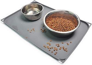 狗粮垫 20x13 英寸(约 50.8 x 33.0 厘米),0.6 英寸(约 1.6 厘米)凸起边缘防水宠物狗食品托盘,可水洗狗碗垫,防滑宠物狗喂食垫,硅胶狗垫,地板垫(灰色)