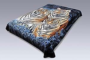 Solaron Korean 超厚重貂毛毯 3 Tigers Blue Queen