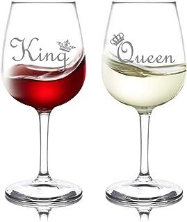 King & Queen 酒杯套装 - 定制印花银色或金色 - 派对和婚礼的理想选择 - 订婚和周年纪念的完美礼物 - 美国手工制作 银色
