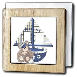TNMGraphics Animals - Sailboat and Teddy Bear - Tile Napkin Holders 天然 6 inch tile napkin holder