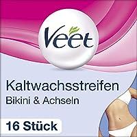 Veet 冷蜡条 Easy-Gelwax 技术适用于比基尼区域和腋下适用于敏感皮肤,1 件装(1 x 16 件)