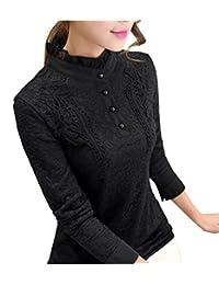 FABEILAI 2017秋冬女式加绒上衣欧美新款加绒加厚蕾丝衫打底衫女装韩版小衫长袖立领上衣265