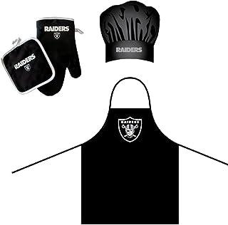 Pro Specialties Group NFL Barbeque 围裙,厨师帽和锅架豪华礼品套装 Oakland Raiders NFL-OAKLARI-BAR-SET