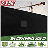 colourtree 6' X 50' 栅栏屏幕 mppap002黑色–商业级150GSM–重型–3年保修 黑色 6' x 50'