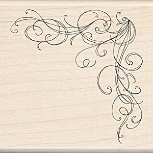 Inkadinkado Wood Stamp, Large Corner Flourish
