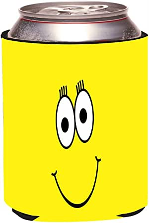 """Rikki Knight """"Yellow Cheeky Smiley Face Design"""" Beer Can Soda Drinks Cooler Koozie"""