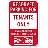 "SmartSign 3M Engineer Grade Reflective Sign, Legend""Reserved Parking for Tenants - Vehicles Towed"" with Graphic, 18"" high x 12"" wide, Red on White"