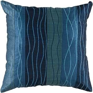 Rizzy Home T-3998 45.72 厘米 x 45.72 厘米装饰枕头,孔雀蓝