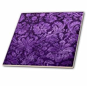 3dRose ct_32491_2 Decorative Vintage Floral Wallpaper Purple-Ceramic Tile, 6-Inch