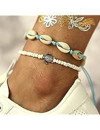 Asooll 波西米亚分层贝壳脚链乌龟白色串珠脚踝手链时尚夏季海滩*首饰套装 适合女士和女孩