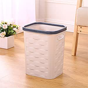 巾子凯晨 新款塑料垃圾桶 大号卫生间厨房客厅纸篓 时尚创意压圈卫生桶大号 清洁收纳桶 (卡其色)