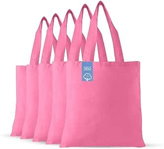 Simply Green Solutions 空白纯棉面料可重复使用布袋 - 5 件套 - 学校手提袋,大手提袋,适合购物,趣味促销物品或环保可重复使用的袋 Azalia 粉红色