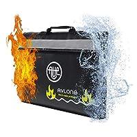 防火袋,带反光带 - 黑暗可见文件夹- 大号防水防火袋,适合存放钱、重要文件和贵重物品 黑色