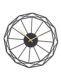 Moonsteps 现代抽象艺术 35.56 cm 黑色铁框 + 金色分钟和时针挂钟 Black/Gold