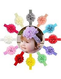 12片婴儿女孩发箍雪纺花朵蕾丝指环新生儿婴儿学步儿童