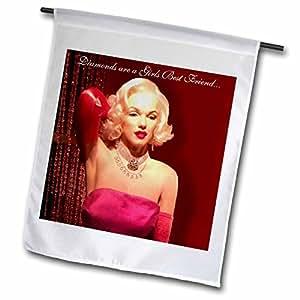 Dawn gagnon 摄影消息–marilyn Monroe , THE Original 材质女孩 marilyn Monroe 州 钻石 ARE A Girls BEST Friend–旗帜 12 x 18 inch Garden Flag