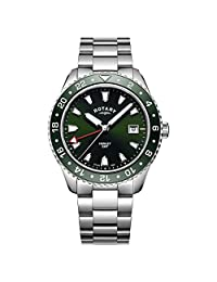 Rotary 男士模拟经典石英手表不锈钢表带 GB05108/24